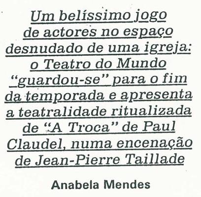 Critique « Concert profane pour 4 corps ». Par Anabela Marquês.